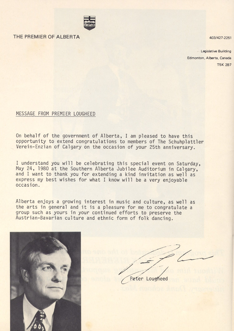 The letter from Premier of Alberta