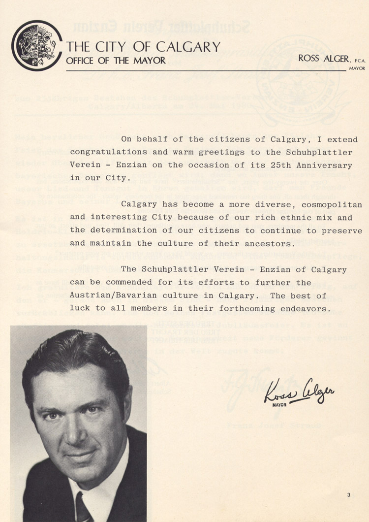 The letter from Mayor of Calgary